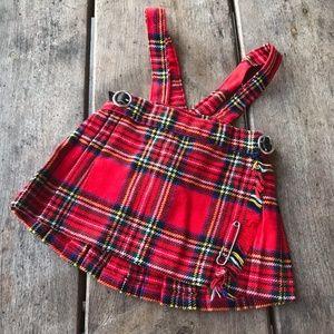 Elka Novitas Kilt Wrap Red Plaid Jumper Skirt